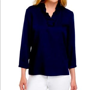 Crown and ivy navy ruffled blouse